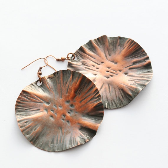 Here comes the Sun copper earrings by evasmidt on Etsy, $40.00