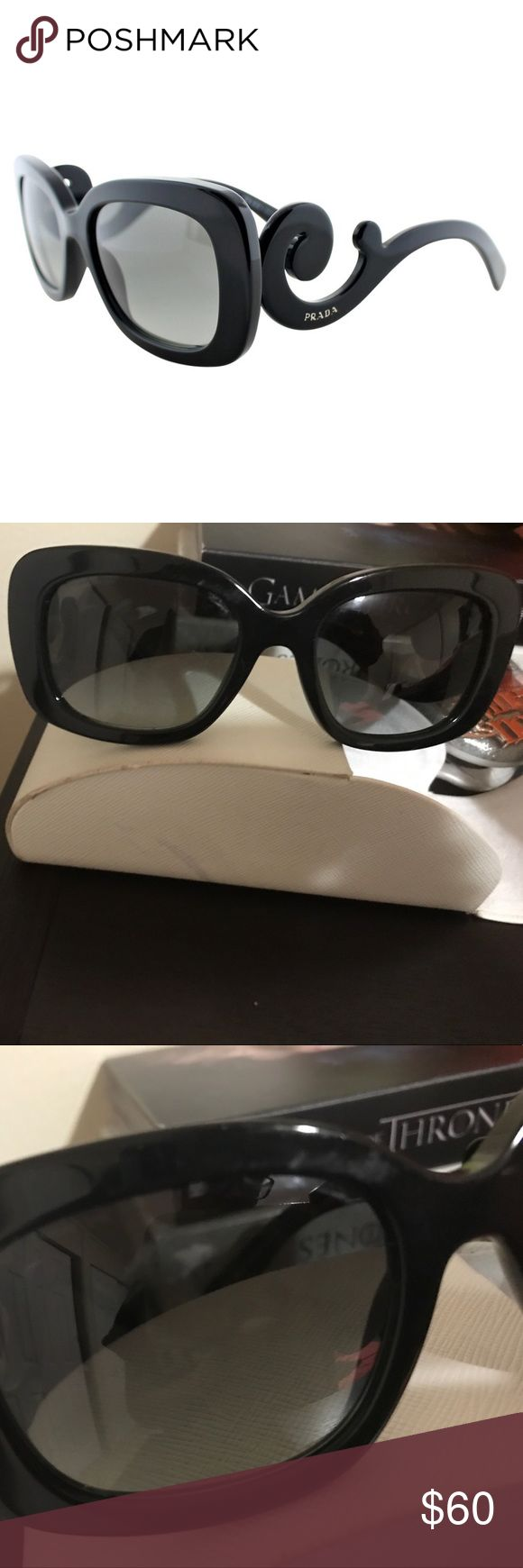 Prada baroque sunglasses Prada baroque sunglasses. Scratch on left lens and part of frame. Everything else in great condition. Comes with original case. I have another listing with another pair of these sunglasses in perfect condition as well. Prada Accessories Sunglasses