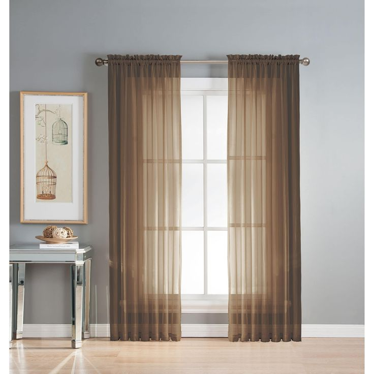 Window Elements Diamond Sheer Voile 56 x 95 in. Rod Pocket Curtain Panel - 56 x 95 (Chocolate), Brown (Polyester, Solid)