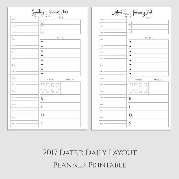 2017 Daily Planner Printable  DO1P  Planner by SarcasmandSweetTea
