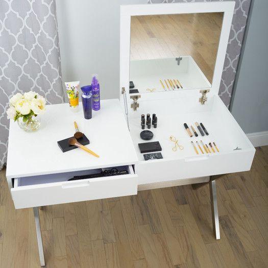 from AllModern -Matrix Porsha Desk Vanity Set with Mirror