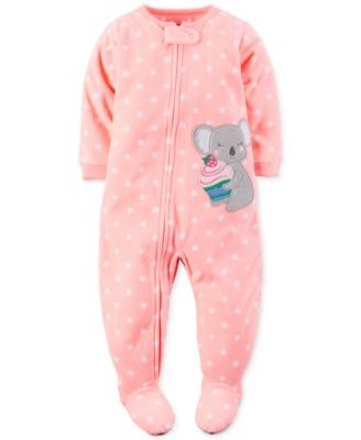 Carter's Baby Girls' 1-Pc. Dot-Print Koala Footed Pajamas