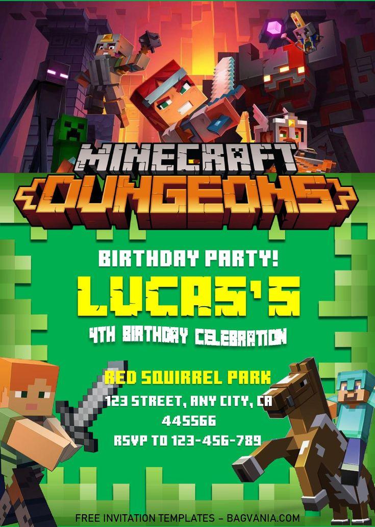 Minecraft birthday invitation templates editable with ms