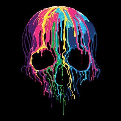 Badass Jewelry Melting Skull Men's Black T-shirt