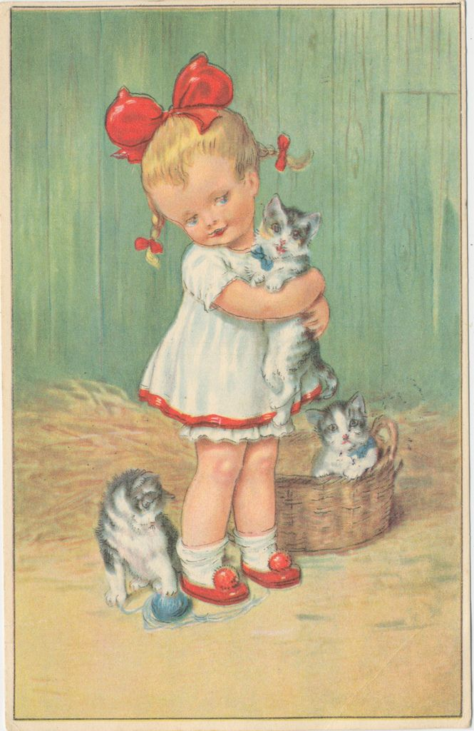 Vintage children's book illustration....Little girl with sweet kittens.