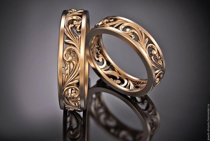 """Купить Обручальное кольцо """"Счастливое"""" - золотой, обручальные кольца, золотые кольца, ажурные золотые кольца"""
