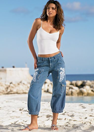 HaHa .... don't know if I could pull these off ...  Embroidered Capri