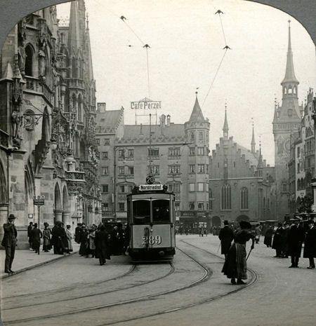 #Marienplatz noch mit Trambahn, #München   Histomentum - Fotoarchiv für historische Fotos und Stereofotos aus aller Welt
