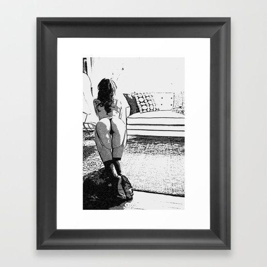 Good Pet - Sexy Submissive Girl Fantasy Artwork Framed Art Print