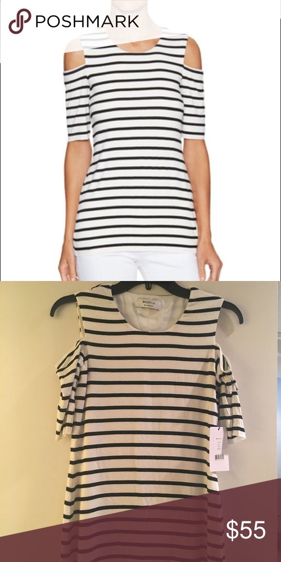 Bailey44 Bardot top Cold shoulder top; Cream with black stripes; stretch jersey material Bailey 44 Tops