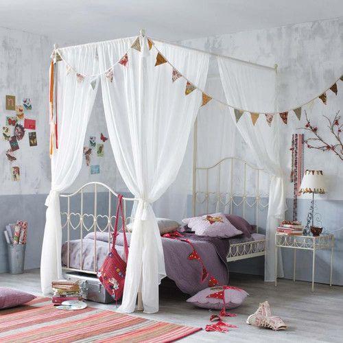 Kids room with canopy bed - Letto a baldacchino color avorio in metallo per bambini 90 x 190 cm