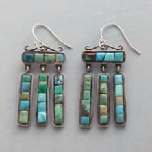 Each blue and green gemstone is unique on this lovely pair of sterling silver turquoise dangle earrings