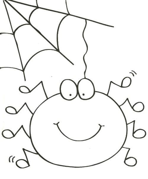 Cute Spider And Spider Web Coloring Page