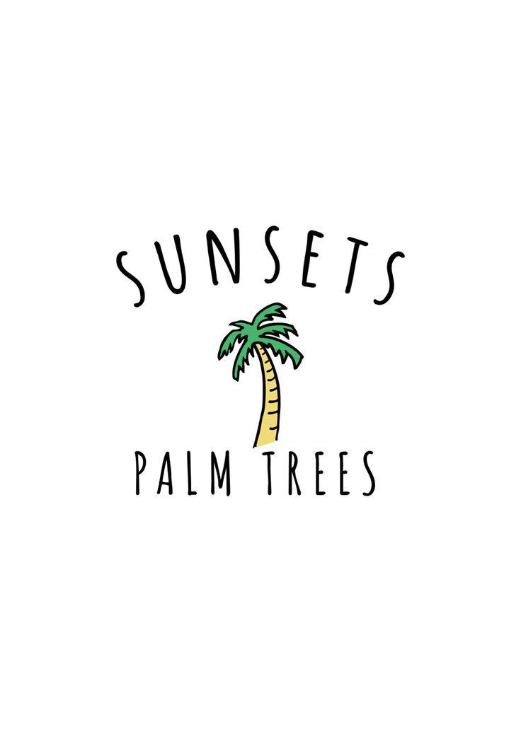 Sunset & Palm Tree graphic summer
