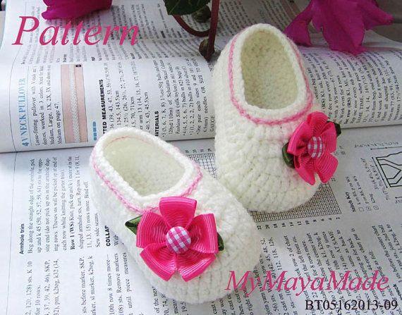 Crochet Pattern  Pink Flower Baby Girl Booties PDF ♥ by MyMayaMade, $5.99