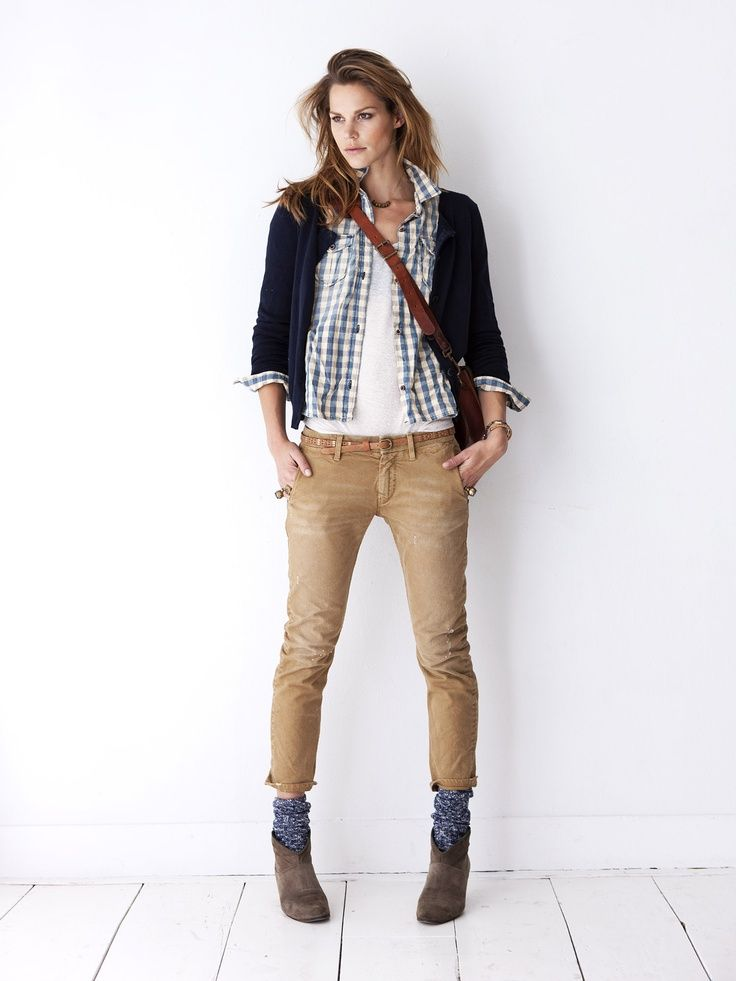 Ankle Boots Blue Socks Khaki Pants White Tank Blue Gingham Shirt Navy Cardi Outfits