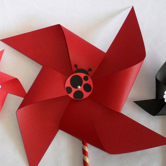Ladybug Favors Paper Pinwheels Baby Shower by PinwheelPretties