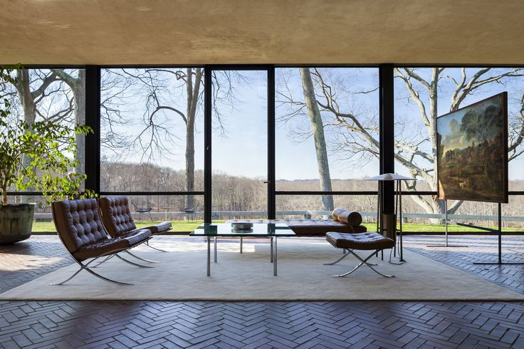 The living room of Philip Johnson's Glass House features Nicolas Poussin's 1648 'Burial of Phocion,'...
