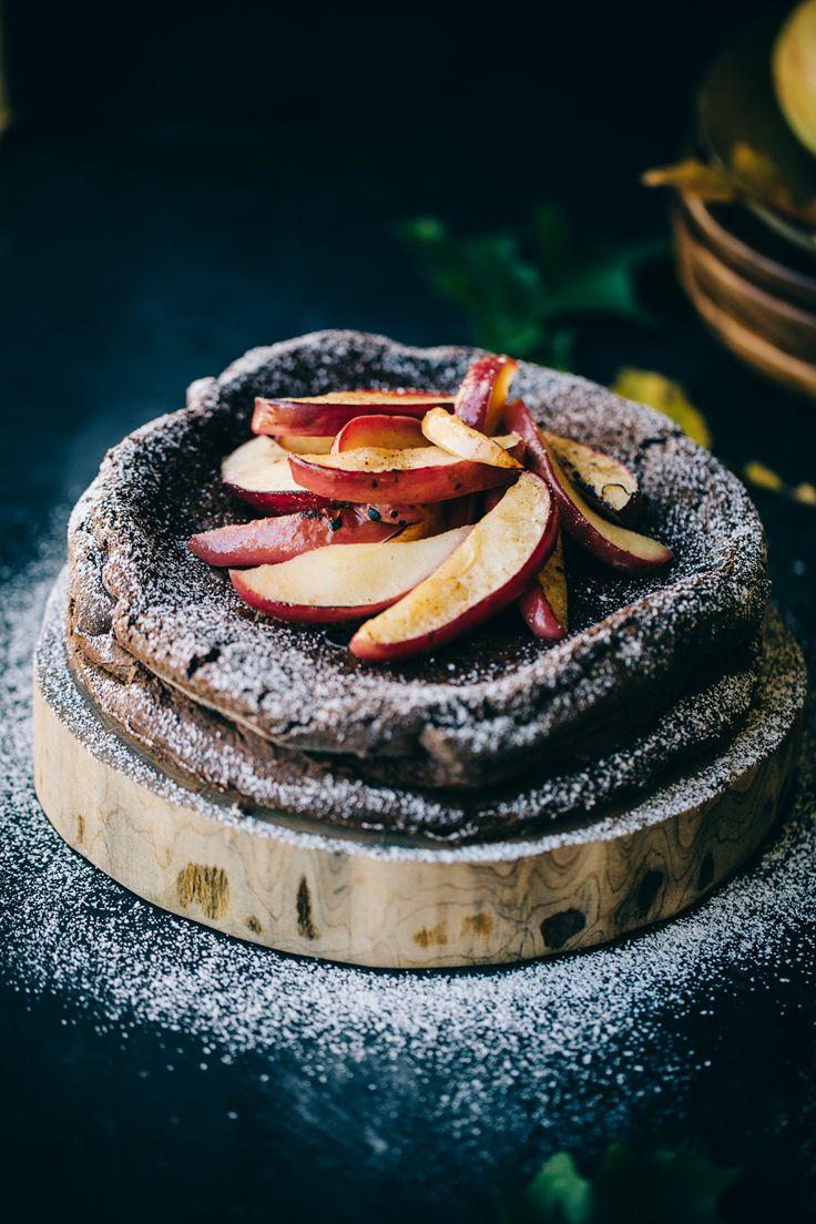rustic brandy chocolate apple flourless cake