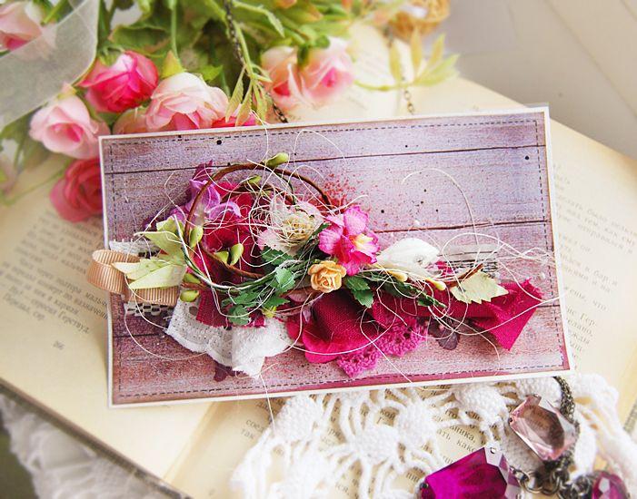 Sweet romantic hand made card. Many decorative elements : lace, flowers, ribbons.. Darinacard.blogspot.com shop.bydarina.com.ua