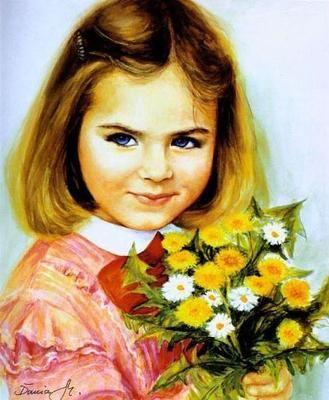 Portret dziewczynki ze starej pocztówki 6.