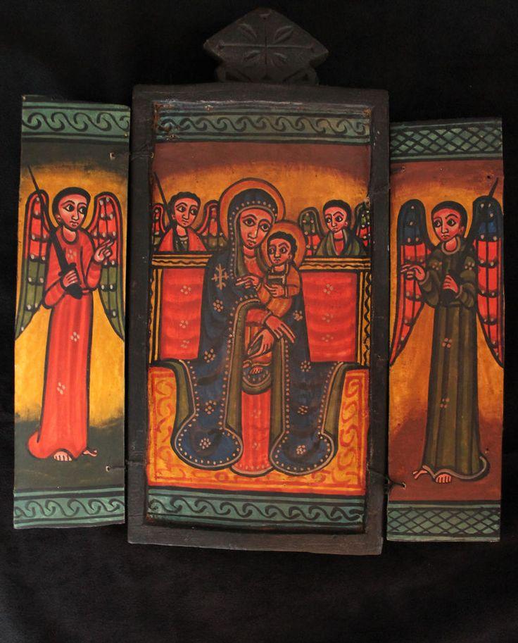Äthiopien: Ikone koptisch orthodox. Ethiopian: Icon coptic orthodox. Icône Icono                      *************** DEU. ´´Ikone´´ bedeutet einfach ´´Bild´´. Der Begriff bezieht sich hier auf heilige Bilder, die speziell die in der christlich orthodoxen Tradition entwickelt haben. Äthiopische Ikonen sind eine Besonder- heit in der Ikonenmalkunst. Sie werden bis heute in der alter Tradition hergestellt.