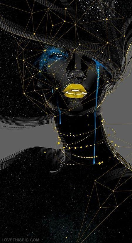 Digital Art Woman in Black art abstract black