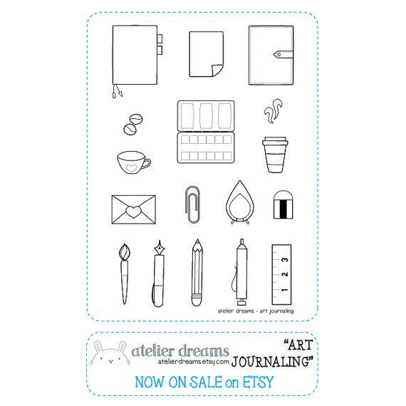 Kunst Journal Planner Briefmarken Photopolymer von AtelierDreams