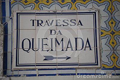 Travessa da Queimada, artistic street signwith portuguese traditional mosaic tiles, Lisbon, Portugal