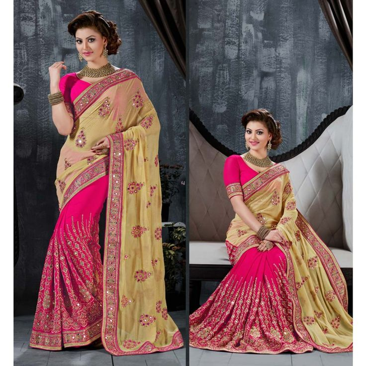 Urvashi Rautela Pink Lycra #Saree With Blouse- $96.96