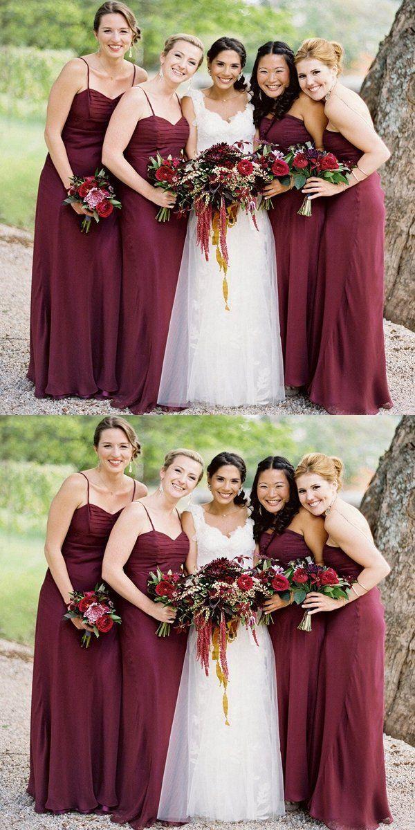 41b2bd02880 Cheap Simple Burgundy Spaghetti Straps Cheap Long Bridesmaid Dresses ...
