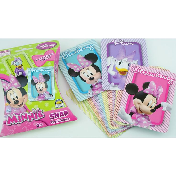 Minnie Snap Card Game featuring Minnie in polka dots and her best friend, Daisy Duck on a beautiful series of rainbow colored playing cards. Visit Funstra for the Minnie Mouse Snap and more Minnie Mouse toys, games and bedding available at Funstra. #minniemouse #minnie #toys #games