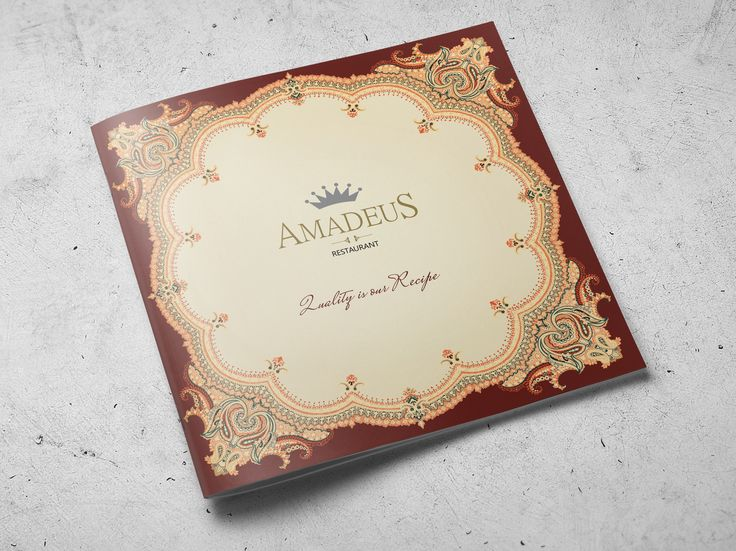 Client: Amadeus Restaurant Media Type: Menu Applications: InDesign - Photoshop - Illustrator  Approach: Commercial