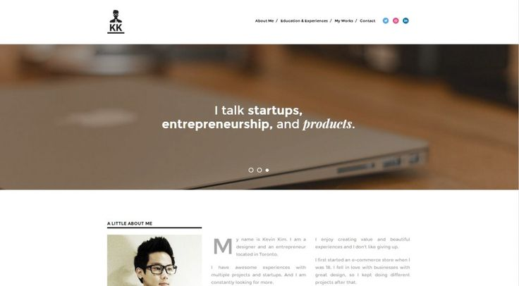 Unique website layouts: Kevin Kim