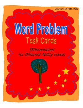 {TWO SETS OF WORD PROBLEM TASK CARDS FOR DIFFERENT ABILITY LEVELS} This document contains 40 task cards (20 at level one and 20 at level two) to help your students master addition and subtraction word problems.  Questions are asked in a variety of ways to assist students in deeply understanding how to solve word problems.  An easy-fold box is included for each set of task cards too!