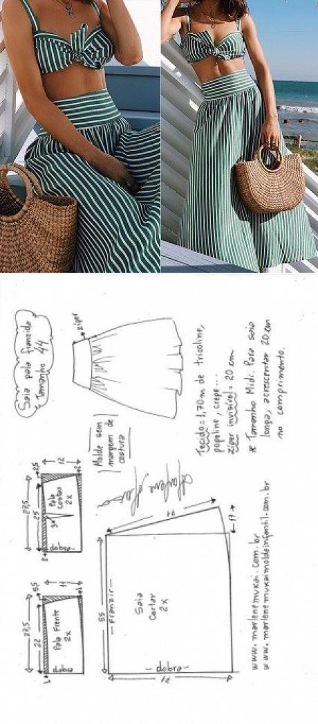 Saia com pala franzida para tecido plano | DIY - molde, corte e costura - Marlene Mukai