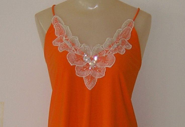 MDS California Womens Camisole Tank Top Neon Orange Irridescent Sequins Size 1X #MDSCalifornia #TankCami #EveningOccasion