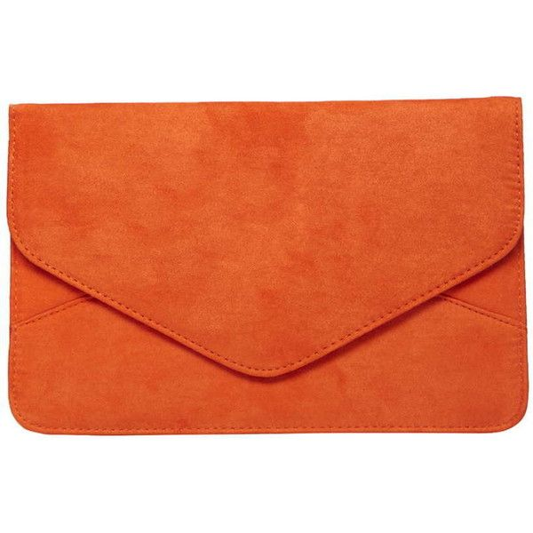 Dorothy Perkins Orange Faux Suede Clutch Bag (60 MYR) ❤ liked on Polyvore featuring bags, handbags, clutches, coral, orange handbags, orange clutches, orange purse and dorothy perkins