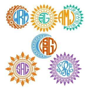 (FREE Daily Cut File) Sun - Moon Monogram Frames - Available for FREE today only, Sept 22