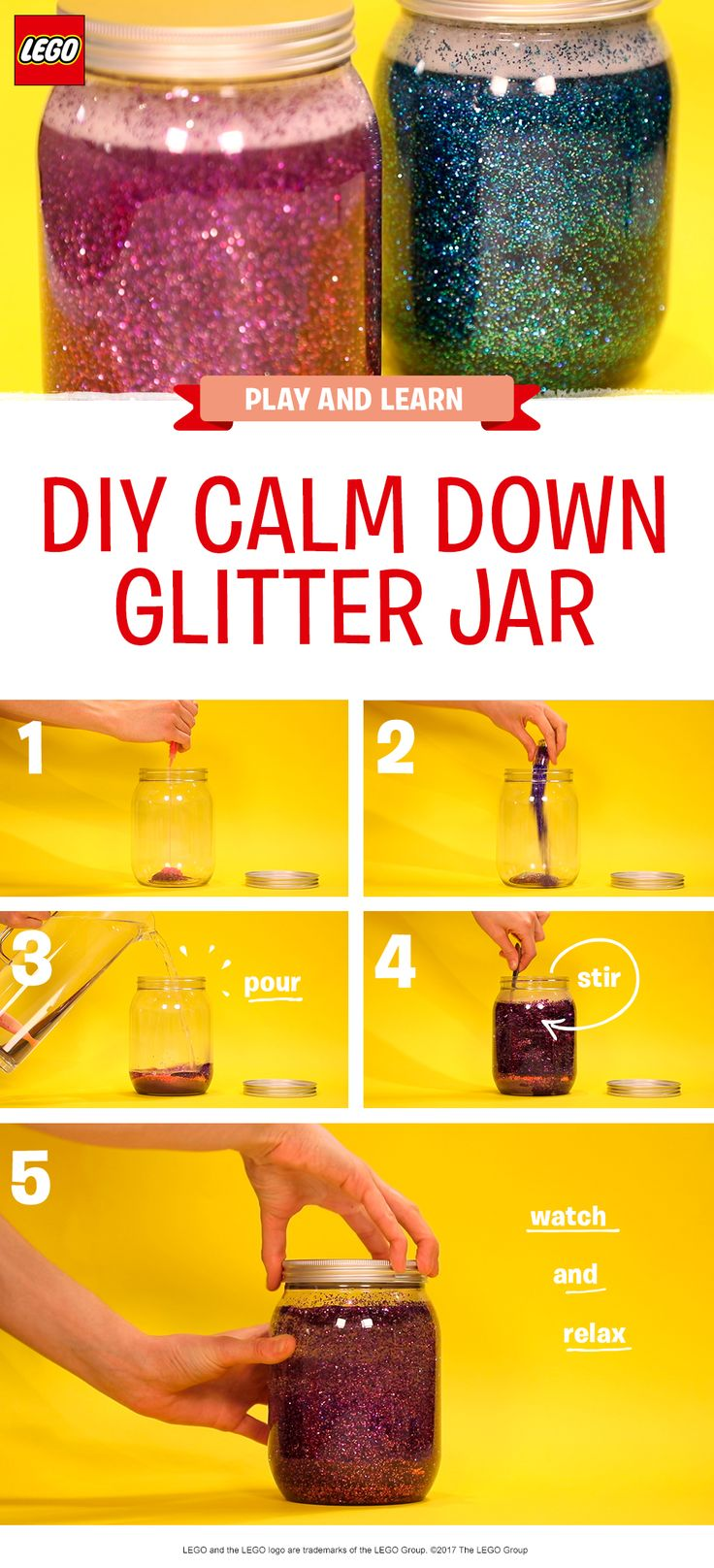 This glittery DIY Calm Jar is a mesmerizing craft activity for pre-schoolers. Customize it using your little one's favourite colors, or whatever glitter you have available, and watch as they become transfixed by the psychedelic patterns. (Just be sure to use a plastic jar and stick the lid down carefully with child safe glue to avoid any accidents). So sparkly!  http://lego.build/calm_jar