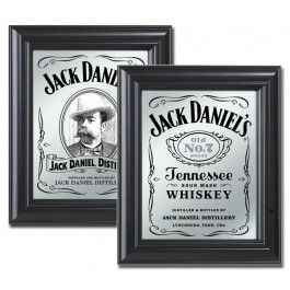 "This collection of two Jack Daniel's bar mirrors with nostalgic graphics from Jack Daniel's. These decorative mirrors compliment eachother and would make for a great fashionable interior for any bar. Each mirror has a finished wooden frame and measure 10.5""W x 12.5""H.Mirrors include - Jack Daniels Saloon and Photo mirrors."
