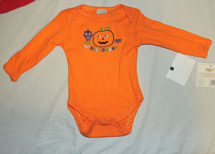 New Unisex Baby My 1st Halloween Bodysuit Sizes 0-3 & 3-6 Months Pumpkin Owl #BabyGear
