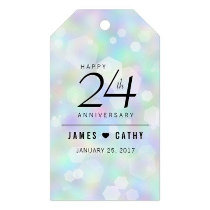 Elegant 24th Opal Wedding Anniversary Celebration Gift Tags  $10.00  by expressionsoccasions  - custom gift idea