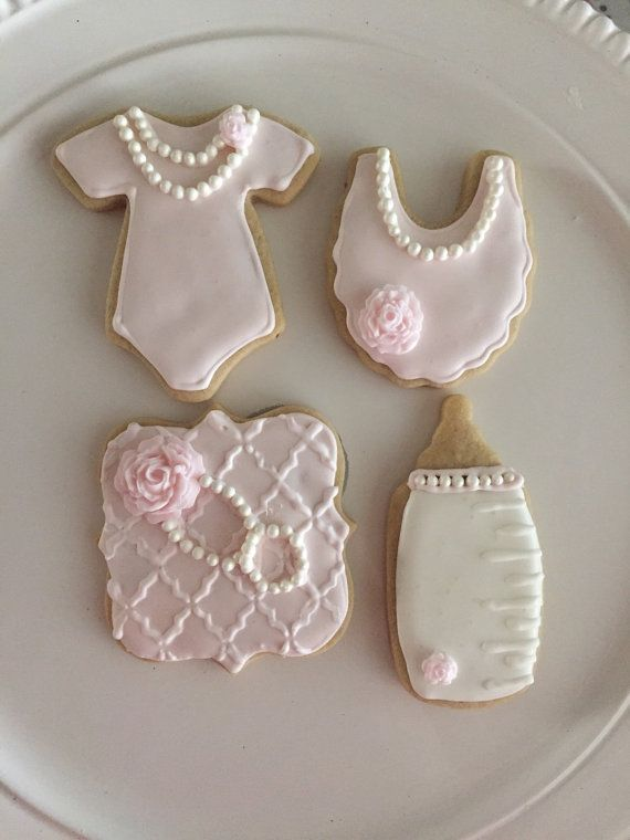 12 Sweet Baby Girl Baby Shower Sugar Cookies by LalasSweets