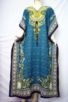 Women's Caftan Long Dress Beach Wear Casual Kaftan Plus Size Tiger Tunic