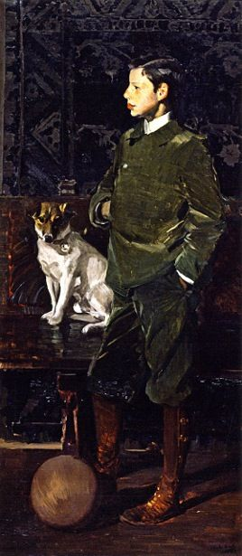 Joaquín Sorolla García y su perro.