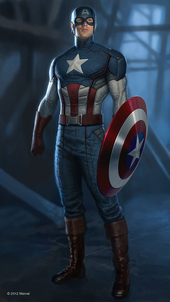 "Concept art by Charlie Wen of Captain America from Marvel's ""The Avengers"" (2012)."