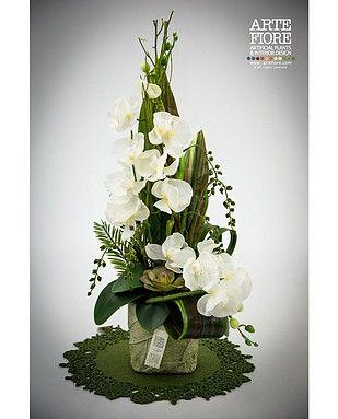 Composizione floreale con fiori artificiali in tessuto:Composizione Orchidee e foglie di Aspidistria