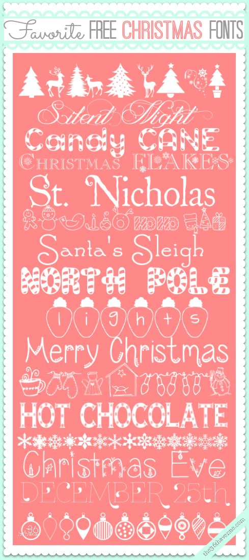 Adorable Free Christmas Fonts and links to downloads... So festive and cute! #fonts #christmas #free