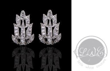 Bridal Earrings   Floral Art Deco Stud Earrings by LITTLE WHITE COUTURE